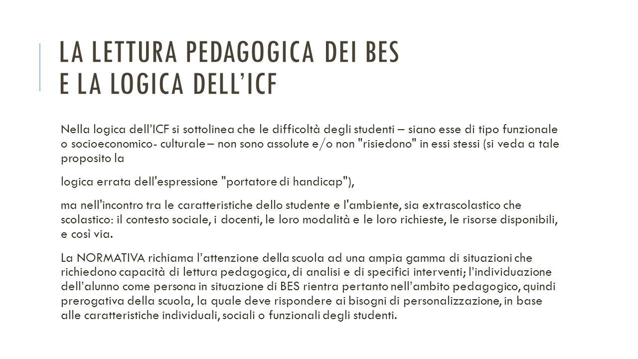 LA LETTURA PEDAGOGICA DEI BES E LA LOGICA DELL'ICF Nella logica dell'ICF si sottolinea che le difficoltà degli studenti – siano esse di tipo funzional