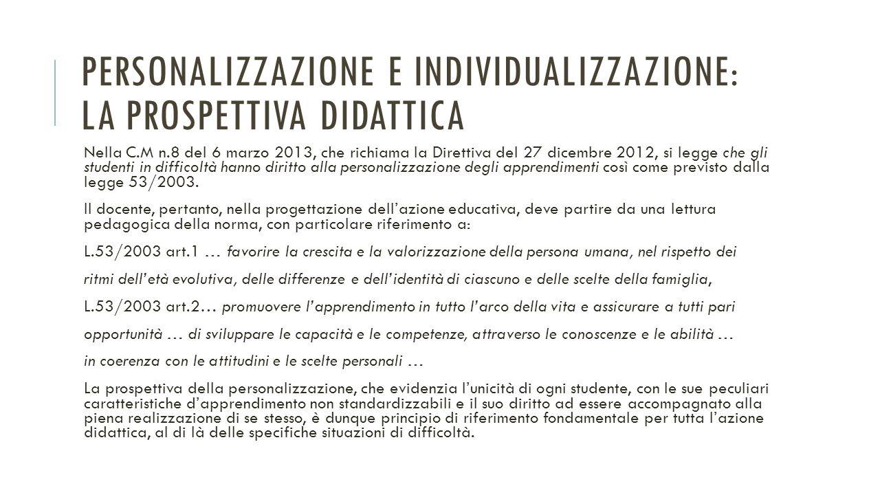 PERSONALIZZAZIONE E INDIVIDUALIZZAZIONE: LA PROSPETTIVA DIDATTICA Nella C.M n.8 del 6 marzo 2013, che richiama la Direttiva del 27 dicembre 2012, si l