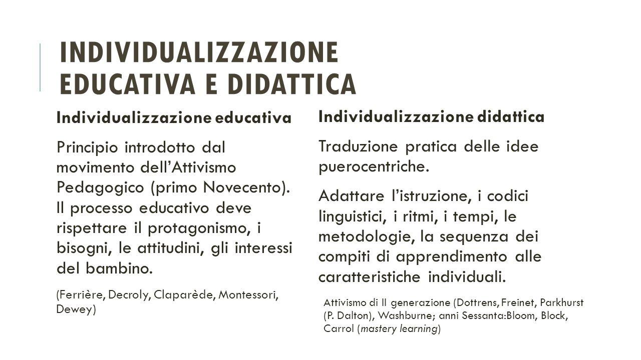 INDIVIDUALIZZAZIONE EDUCATIVA E DIDATTICA Individualizzazione educativa Principio introdotto dal movimento dell'Attivismo Pedagogico (primo Novecento)