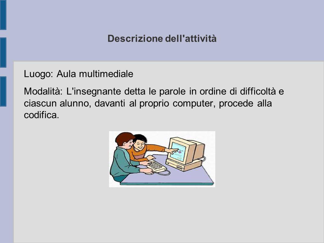 Descrizione dell'attività Luogo: Aula multimediale Modalità: L'insegnante detta le parole in ordine di difficoltà e ciascun alunno, davanti al proprio