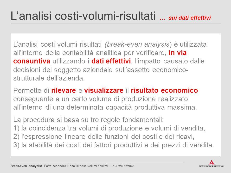 L'analisi costi-volumi-risultati … sui dati effettivi L'analisi costi-volumi-risultati (break-even analysis) è utilizzata all'interno della contabilit