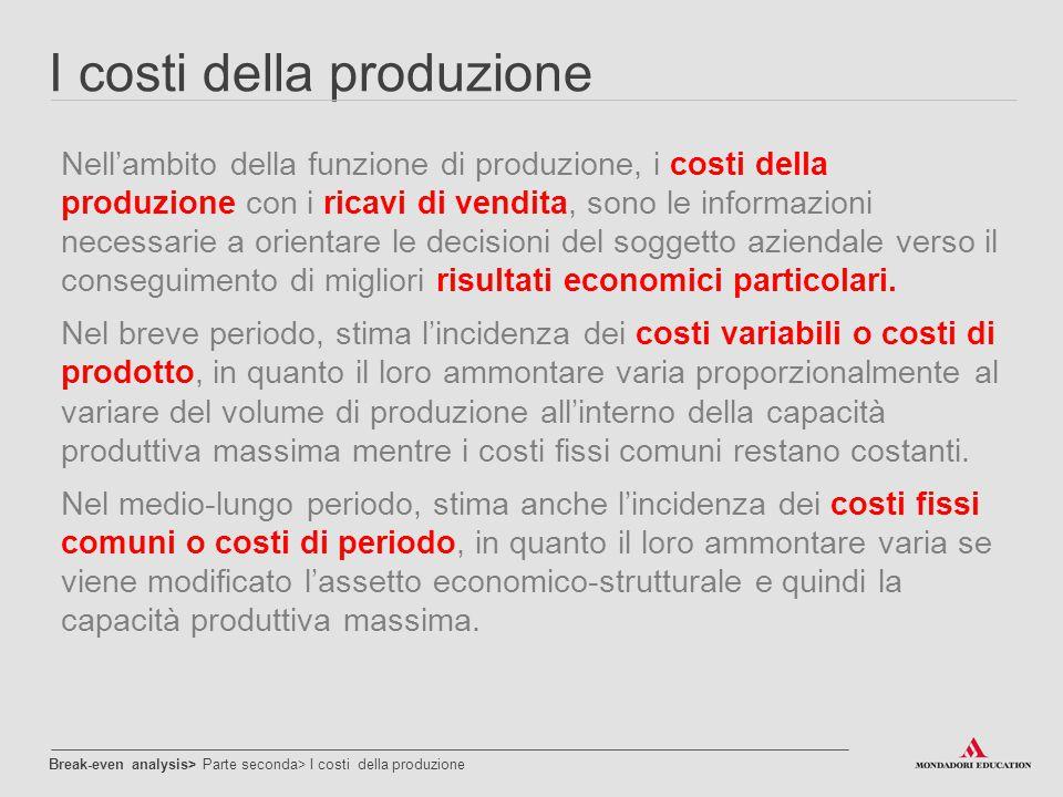 I costi della produzione Nell'ambito della funzione di produzione, i costi della produzione con i ricavi di vendita, sono le informazioni necessarie a