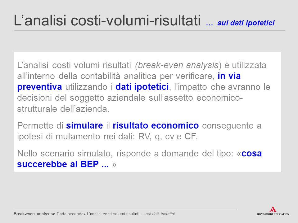 L'analisi costi-volumi-risultati … sui dati ipotetici L'analisi costi-volumi-risultati (break-even analysis) è utilizzata all'interno della contabilit