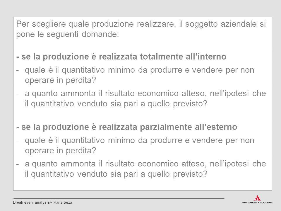 Per scegliere quale produzione realizzare, il soggetto aziendale si pone le seguenti domande: - se la produzione è realizzata totalmente all'interno -