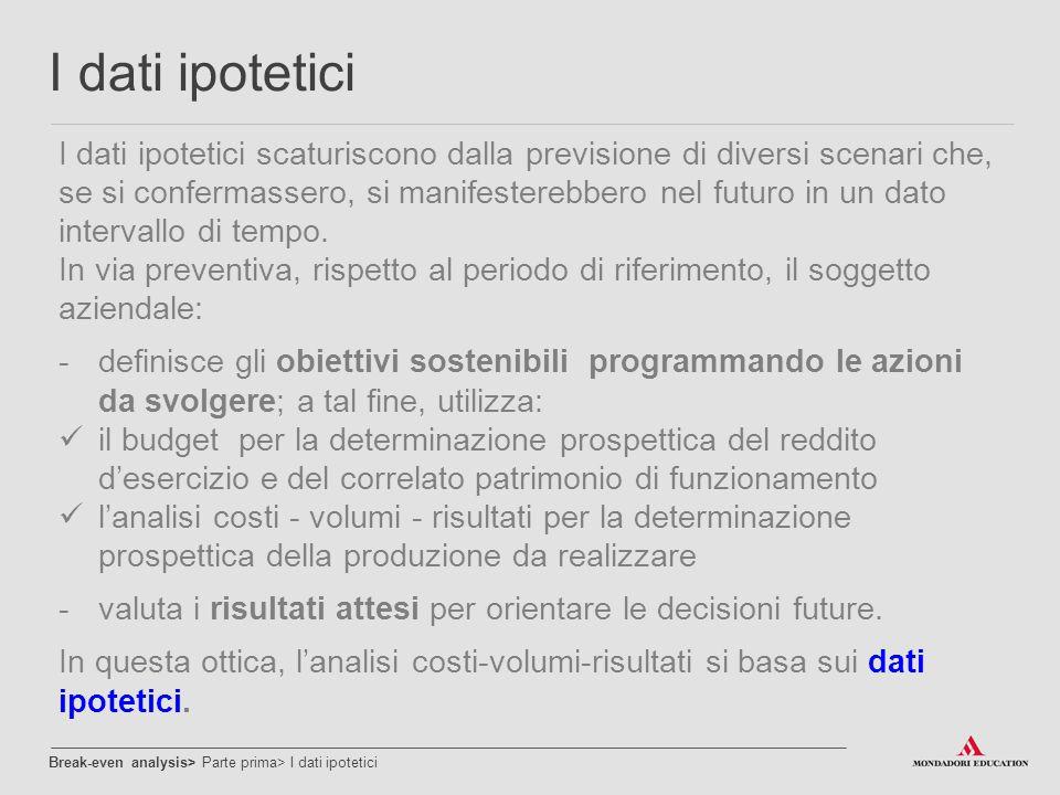 I dati ipotetici I dati ipotetici scaturiscono dalla previsione di diversi scenari che, se si confermassero, si manifesterebbero nel futuro in un dato