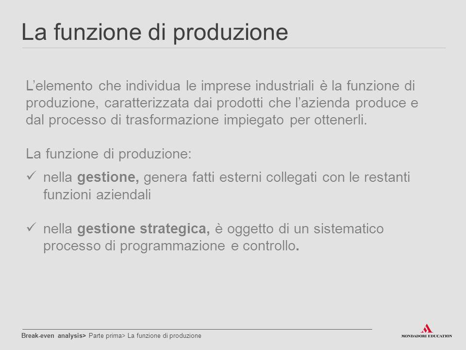 La funzione di produzione L'elemento che individua le imprese industriali è la funzione di produzione, caratterizzata dai prodotti che l'azienda produ