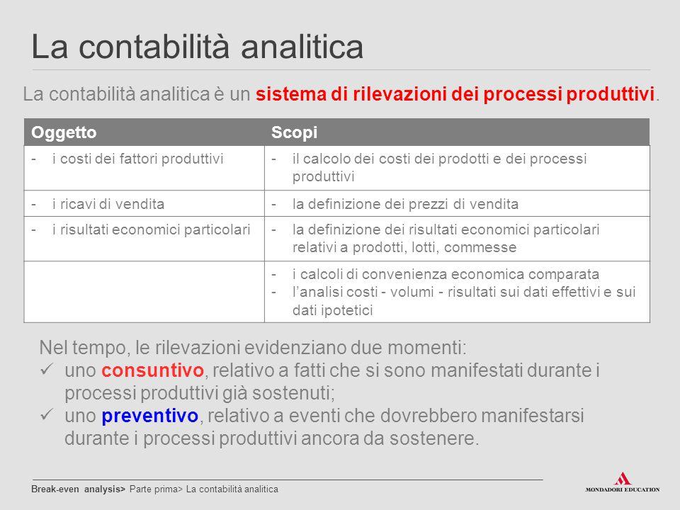 La contabilità analitica La contabilità analitica è un sistema di rilevazioni dei processi produttivi. Break-even analysis> Parte prima> La contabilit