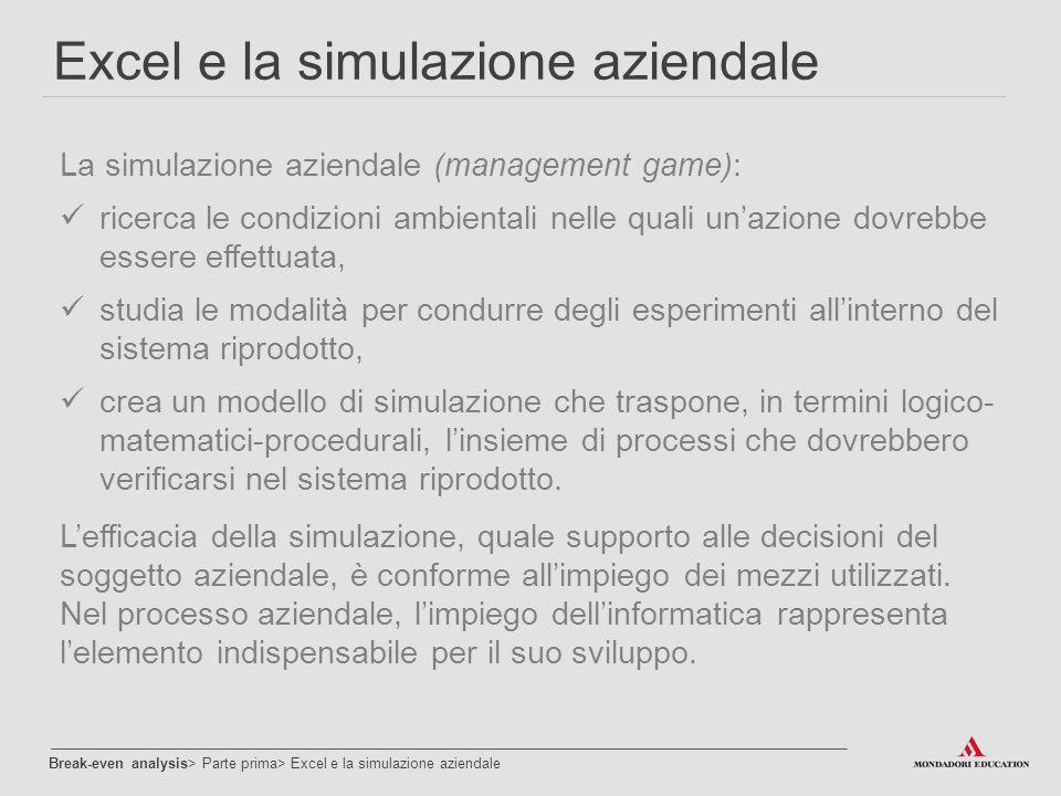 Excel e la simulazione aziendale La simulazione aziendale (management game): ricerca le condizioni ambientali nelle quali un'azione dovrebbe essere ef