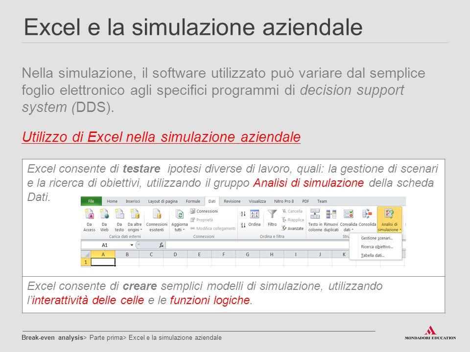 Excel e la simulazione aziendale Nella simulazione, il software utilizzato può variare dal semplice foglio elettronico agli specifici programmi di dec