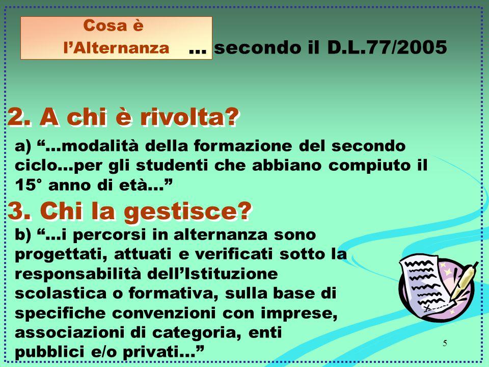 5 a) …modalità della formazione del secondo ciclo…per gli studenti che abbiano compiuto il 15° anno di età... 2.