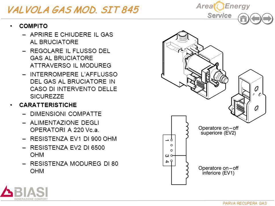 PARVA RECUPERA GAS Service TARATURE GAS MODELLO S 24 kw 28 kw Min (mbar) Max (mbar) Min (mbar) Max (mbar) Metano2,3011,302,3011,30 Butano5,8028,105,8028,10 Propano7,8036,107,8036,10 PROCEDURA TARATURA GASPROCEDURA TARATURA GAS –VERIFICARE PRESSIONE DI RETE (sia statica che dinamica) UTILIZZANDO LA PRESA DI PRESSIONE IN INGRESSO ALLA VALVOLA GAS –COLLEGARE IL MANOMETRO SULLA PRESA D' USCITA VALVOLA GAS –METTERE IL POTENZIOMETRO SANITARIO AL MASSIMO E APRIRE ABBONDANTE ACQUA CALDA –AGENDO SUL DADO D' OTTONE TARARE IL MASSIMO GAS SEGUENDO LA TABELLA SOTTO RIPORTATA –SCOLLEGARE UN FILO DEL MODUREG (il bruciatore si spegne) –AGENDO SULLA VITE IN PLASTICA AL CENTRO DEL MODUREG TARARE IL MINIMO GAS SEGUENDO LA TABELLA SOTTO RIPORTATA