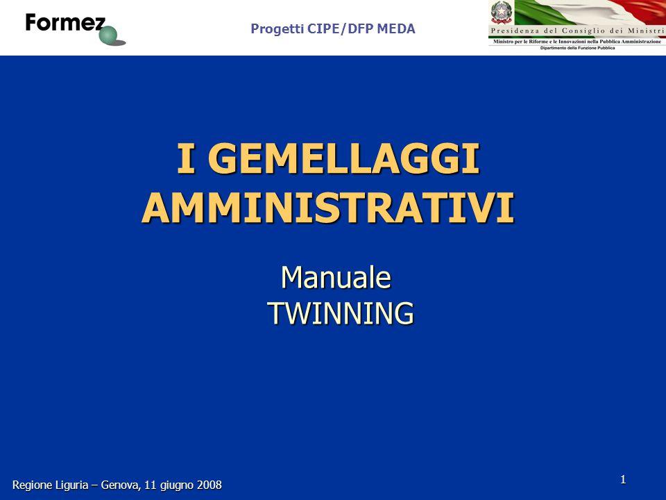 Progetti CIPE/DFP MEDA Regione Liguria – Genova, 11 giugno 2008 1 I GEMELLAGGI AMMINISTRATIVI Manuale TWINNING
