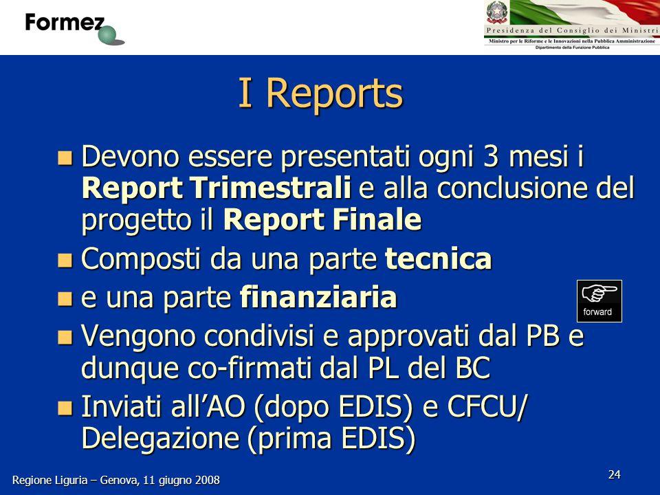 Regione Liguria – Genova, 11 giugno 2008 24 I Reports Devono essere presentati ogni 3 mesi i Report Trimestrali e alla conclusione del progetto il Report Finale Devono essere presentati ogni 3 mesi i Report Trimestrali e alla conclusione del progetto il Report Finale Composti da una parte tecnica Composti da una parte tecnica e una parte finanziaria e una parte finanziaria Vengono condivisi e approvati dal PB e dunque co-firmati dal PL del BC Vengono condivisi e approvati dal PB e dunque co-firmati dal PL del BC Inviati all'AO (dopo EDIS) e CFCU/ Delegazione (prima EDIS) Inviati all'AO (dopo EDIS) e CFCU/ Delegazione (prima EDIS)