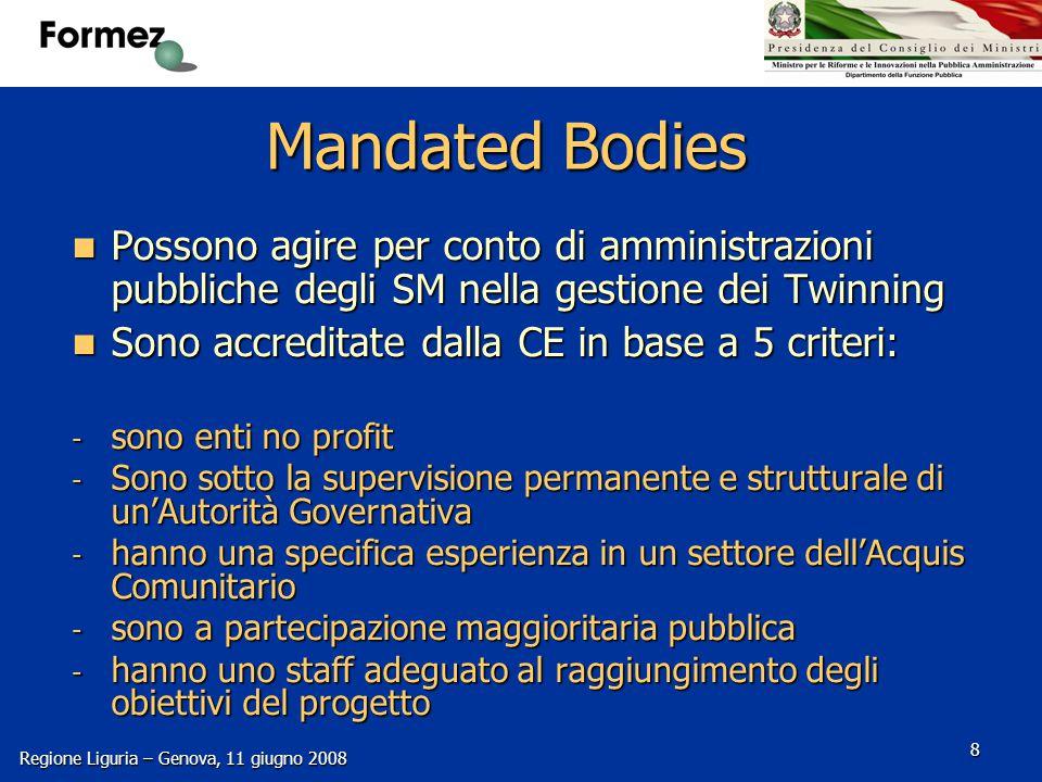 Progetti CIPE/DFP MEDA Regione Liguria – Genova, 11 giugno 2008 29 PUNTI DI FORZA VISIBILITA' ISTITUZIONALE NETWORKING ISTITUZIONALE (COOPERAZIONE EXTRA TWINNING) NESSUN COFINANZIAMENTO STIMOLO e GRATIFICAZIONE DIPENDENTI PUBBLICI
