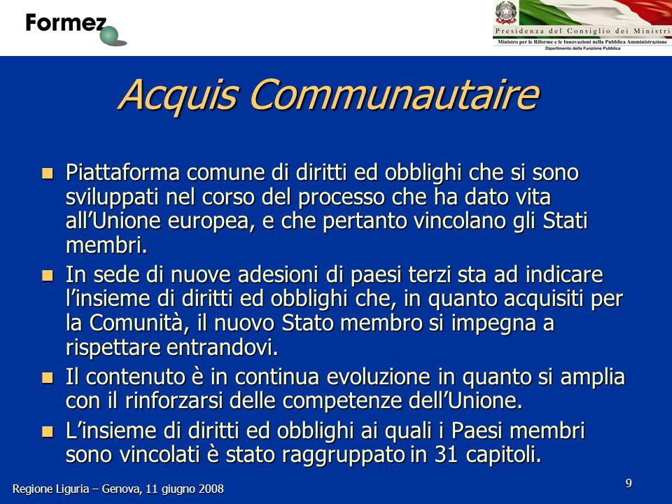 Regione Liguria – Genova, 11 giugno 2008 10 Capitoli Acquis Communautaire 1.