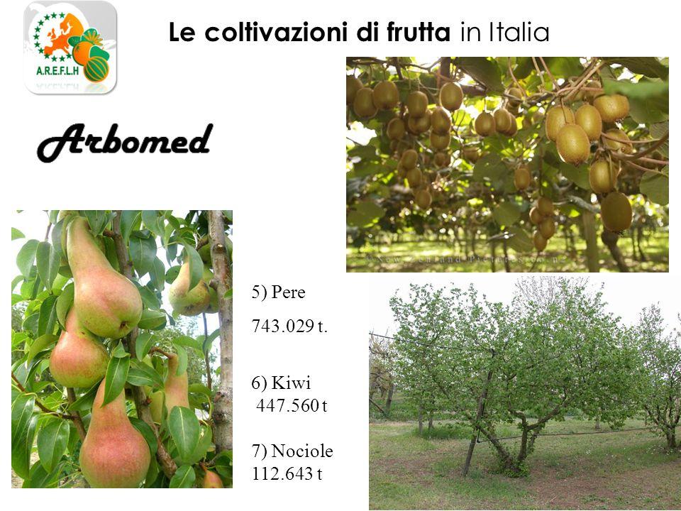 Le coltivazioni di frutta in Italia 5) Pere 743.029 t. 6) Kiwi 447.560 t 7) Nociole 112.643 t