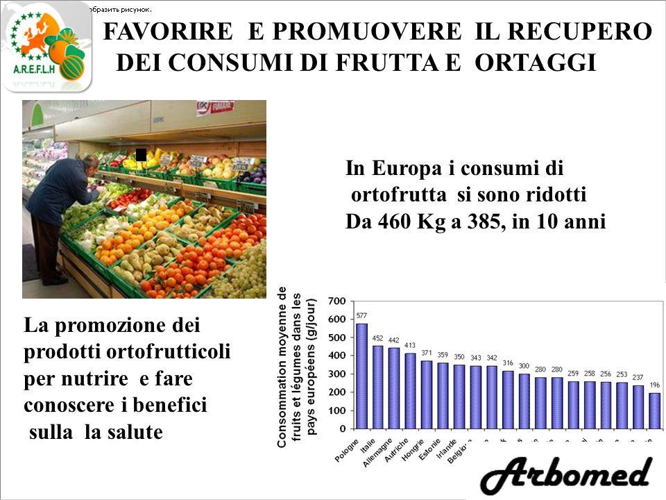 FAVORIRE E PROMUOVERE IL RECUPERO DEI CONSUMI DI FRUTTA E ORTAGGI La promozione dei prodotti ortofrutticoli per nutrire e fare conoscere i benefici sulla la salute In Europa i consumi di ortofrutta si sono ridotti Da 460 Kg a 385, in 10 anni