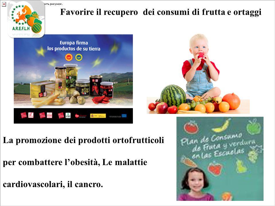 Favorire il recupero dei consumi di frutta e ortaggi La promozione dei prodotti ortofrutticoli per combattere l'obesità, Le malattie cardiovascolari, il cancro.