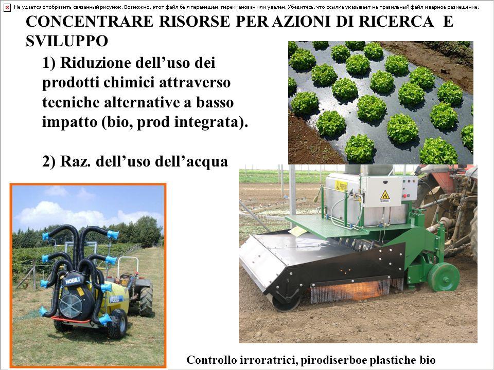 CONCENTRARE RISORSE PER AZIONI DI RICERCA E SVILUPPO 1) Riduzione dell'uso dei prodotti chimici attraverso tecniche alternative a basso impatto (bio, prod integrata).
