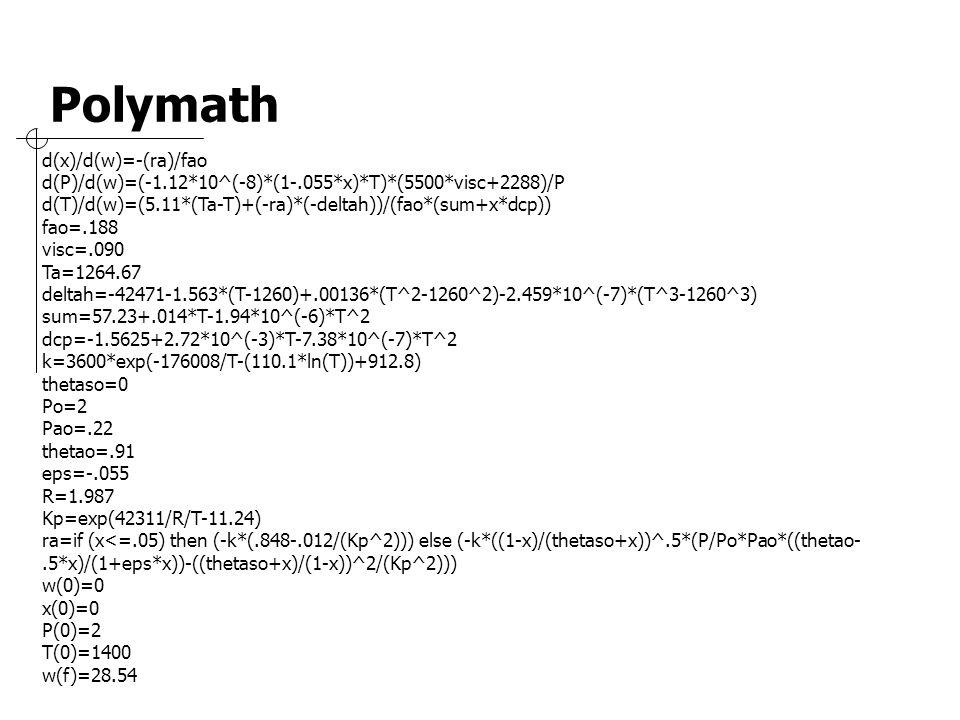 d(x)/d(w)=-(ra)/fao d(P)/d(w)=(-1.12*10^(-8)*(1-.055*x)*T)*(5500*visc+2288)/P d(T)/d(w)=(5.11*(Ta-T)+(-ra)*(-deltah))/(fao*(sum+x*dcp)) fao=.188 visc=