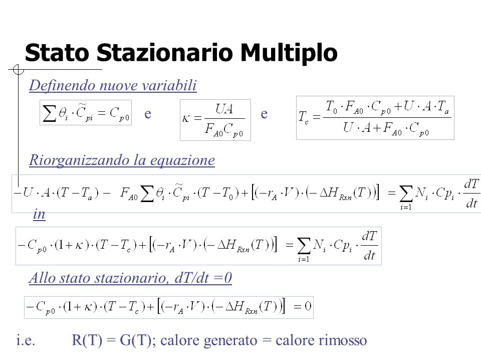 Stato Stazionario Multiplo Definendo nuove variabili e e Riorganizzando la equazione in Allo stato stazionario, dT/dt =0 i.e. R(T) = G(T); calore gene