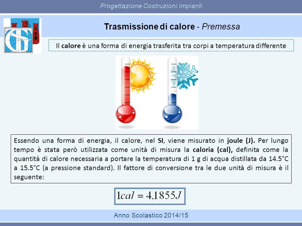 Trasmissione di calore - Premessa Progettazione Costruzioni Impianti Anno Scolastico 2014/15 Il calore è una forma di energia trasferita tra corpi a t
