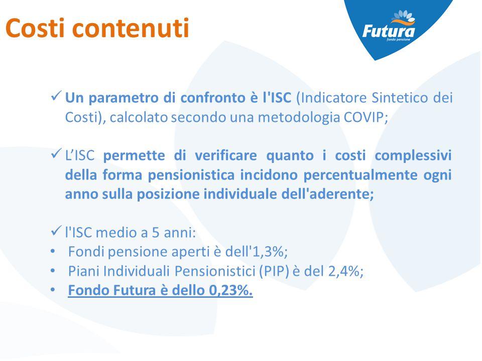 Costi contenuti Un parametro di confronto è l ISC (Indicatore Sintetico dei Costi), calcolato secondo una metodologia COVIP; L'ISC permette di verificare quanto i costi complessivi della forma pensionistica incidono percentualmente ogni anno sulla posizione individuale dell aderente; l ISC medio a 5 anni: Fondi pensione aperti è dell 1,3%; Piani Individuali Pensionistici (PIP) è del 2,4%; Fondo Futura è dello 0,23%.
