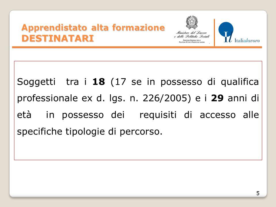 Apprendistato alta formazione DESTINATARI 5 Soggetti tra i 18 (17 se in possesso di qualifica professionale ex d. lgs. n. 226/2005) e i 29 anni di età