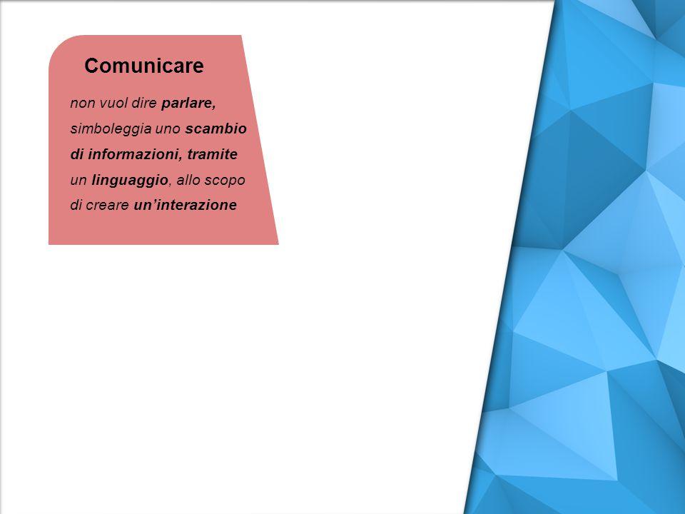 Comunicare non vuol dire parlare, simboleggia uno scambio di informazioni, tramite un linguaggio, allo scopo di creare un'interazione