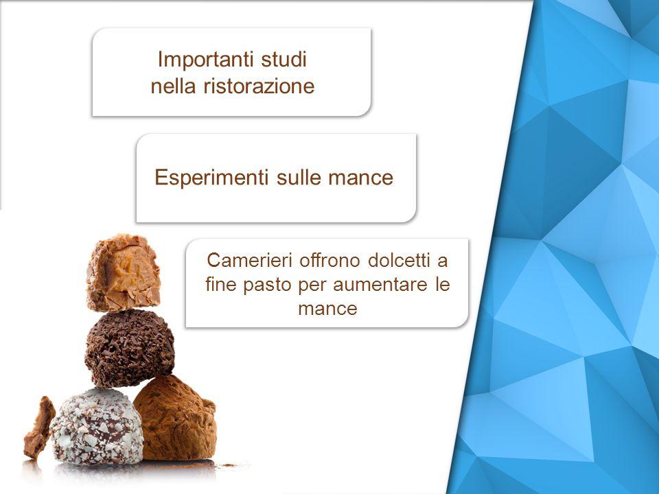 Camerieri offrono dolcetti a fine pasto per aumentare le mance Importanti studi nella ristorazione Esperimenti sulle mance