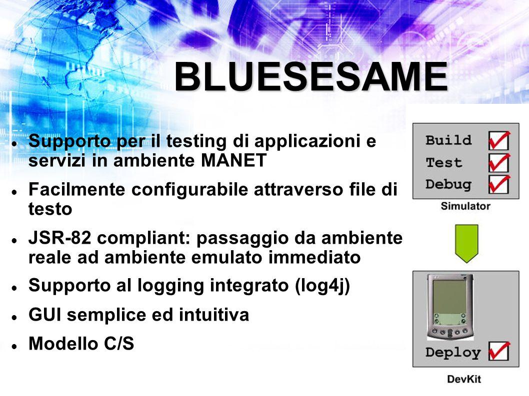 BLUESESAME Supporto per il testing di applicazioni e servizi in ambiente MANET Facilmente configurabile attraverso file di testo JSR-82 compliant: passaggio da ambiente reale ad ambiente emulato immediato Supporto al logging integrato (log4j) GUI semplice ed intuitiva Modello C/S