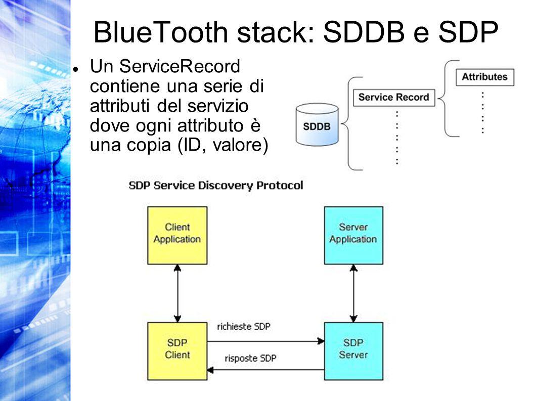 BlueTooth stack: SDDB e SDP Un ServiceRecord contiene una serie di attributi del servizio dove ogni attributo è una copia (ID, valore)