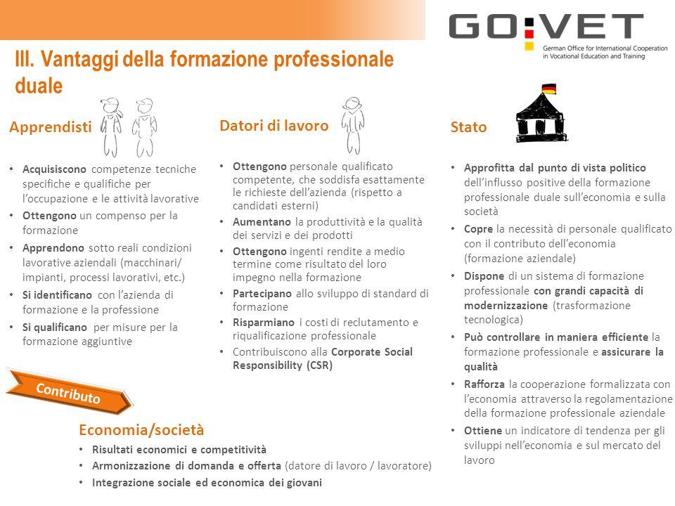 III. Vantaggi della formazione professionale duale Apprendisti Acquisiscono competenze tecniche specifiche e qualifiche per l'occupazione e le attivit
