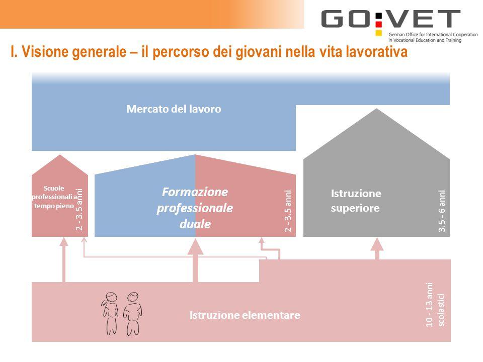 I. Visione generale – il percorso dei giovani nella vita lavorativa Istruzione superiore Mercato del lavoro Istruzione elementare Scuole professionali