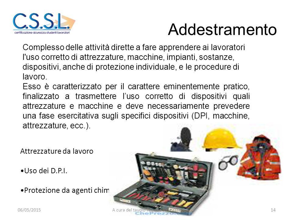 Complesso delle attività dirette a fare apprendere ai lavoratori l'uso corretto di attrezzature, macchine, impianti, sostanze, dispositivi, anche di p