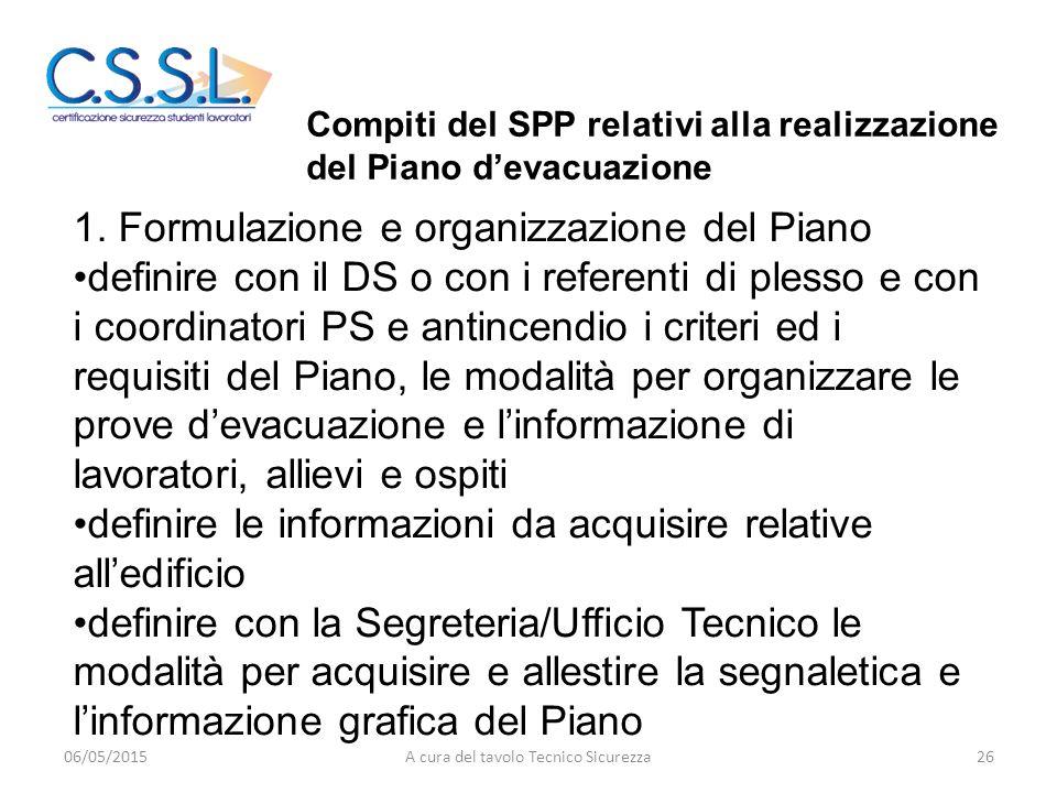1. Formulazione e organizzazione del Piano definire con il DS o con i referenti di plesso e con i coordinatori PS e antincendio i criteri ed i requisi