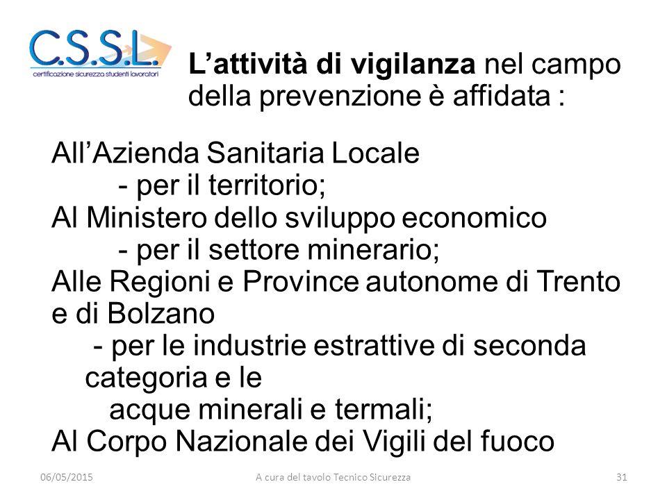 All'Azienda Sanitaria Locale - per il territorio; Al Ministero dello sviluppo economico - per il settore minerario; Alle Regioni e Province autonome d