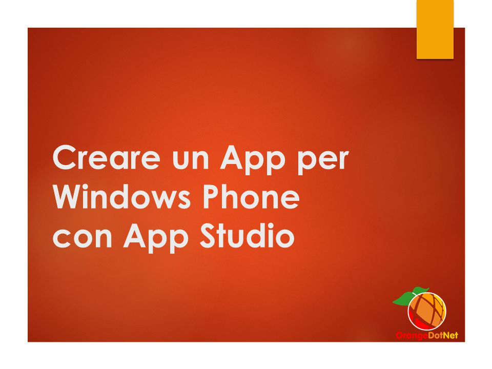 Creare un App per Windows Phone con App Studio