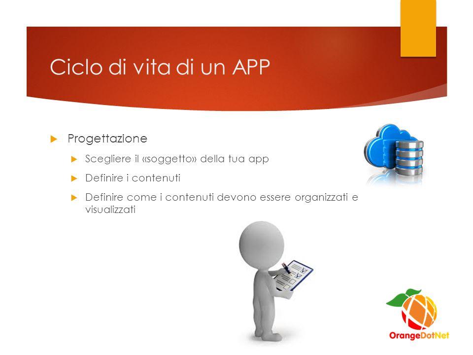 Ciclo di vita di un APP  Progettazione  Scegliere il «soggetto» della tua app  Definire i contenuti  Definire come i contenuti devono essere organizzati e visualizzati