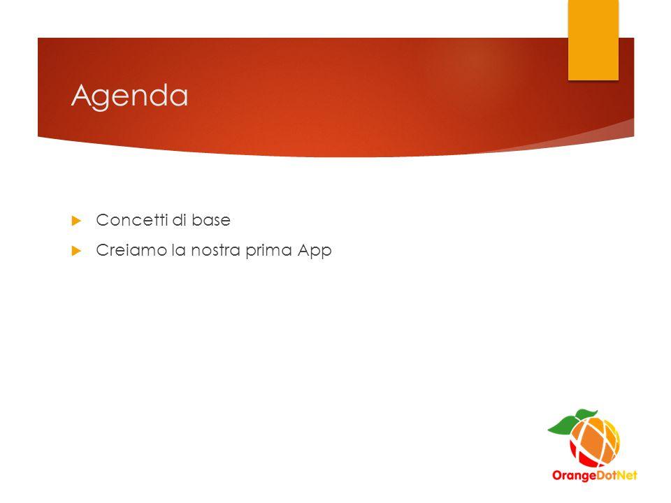 Agenda  Concetti di base  Creiamo la nostra prima App