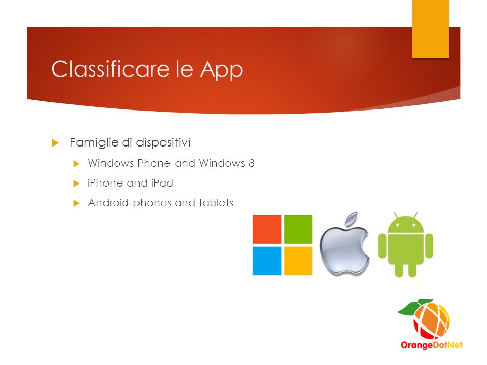 Classificare le App  Famiglie di dispositivi  Windows Phone and Windows 8  iPhone and iPad  Android phones and tablets