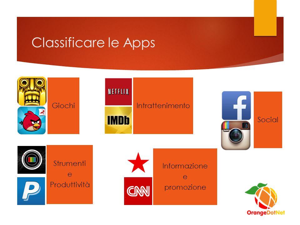 Classificare le Apps Social Informazione e promozione GiochiIntrattenimento Strumenti e Produttività