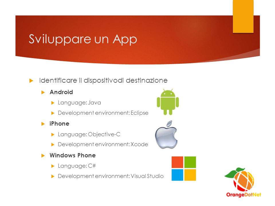 Sviluppare un App  Identificare il dispositivodi destinazione  Android  Language: Java  Development environment: Eclipse  iPhone  Language: Obje