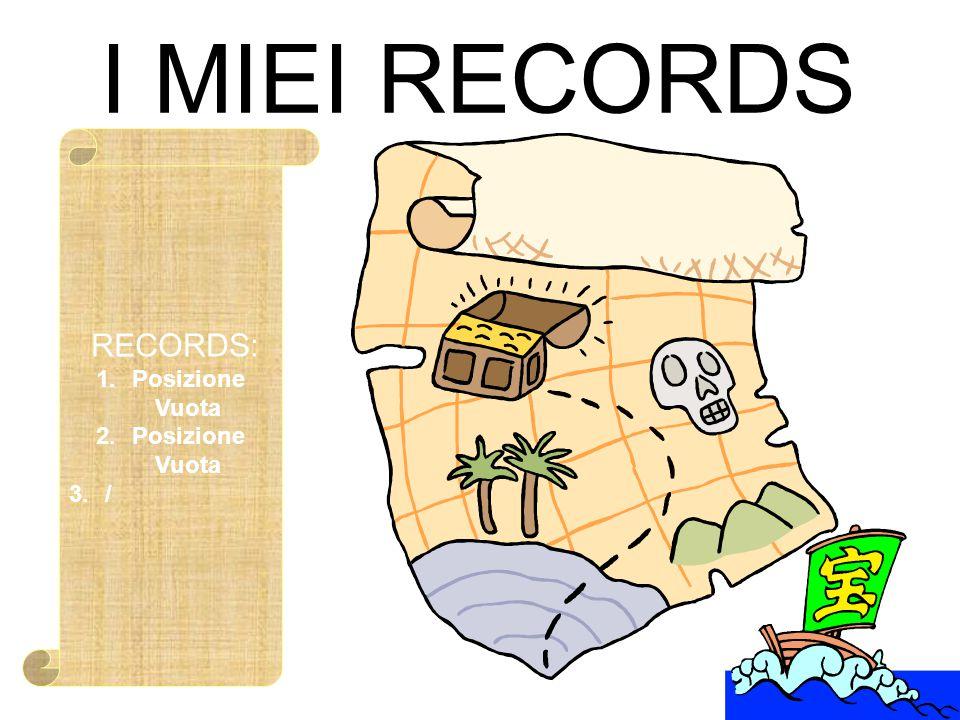 I MIEI RECORDS RECORDS: 1.Posizione Vuota 2.Posizione Vuota 3./