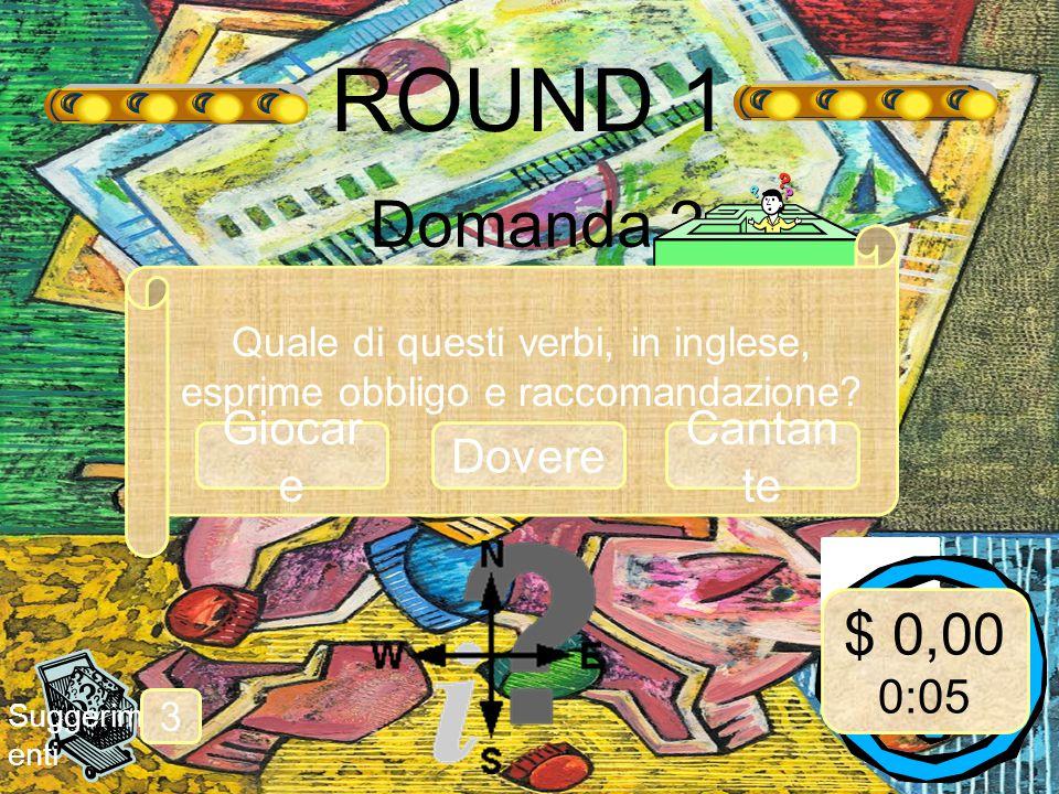 ROUND 1 Domanda 2 Suggerim enti 3 Quale di questi verbi, in inglese, esprime obbligo e raccomandazione.