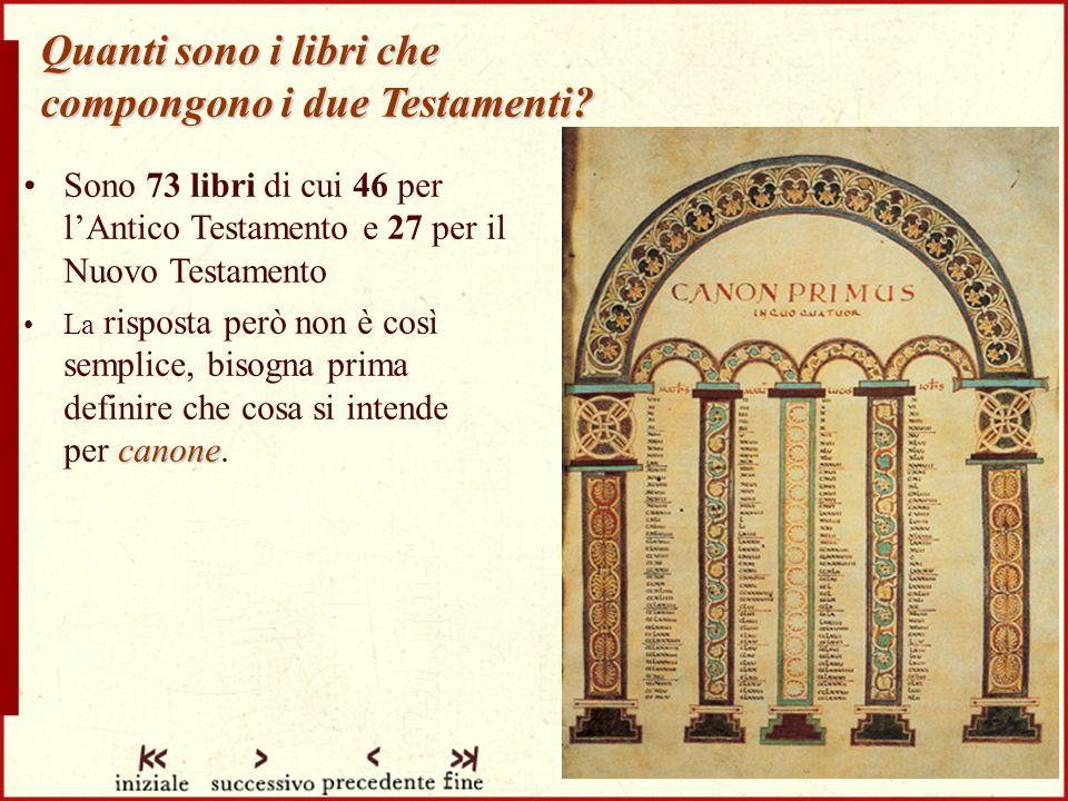 Quanti sono i libri che compongono i due Testamenti.