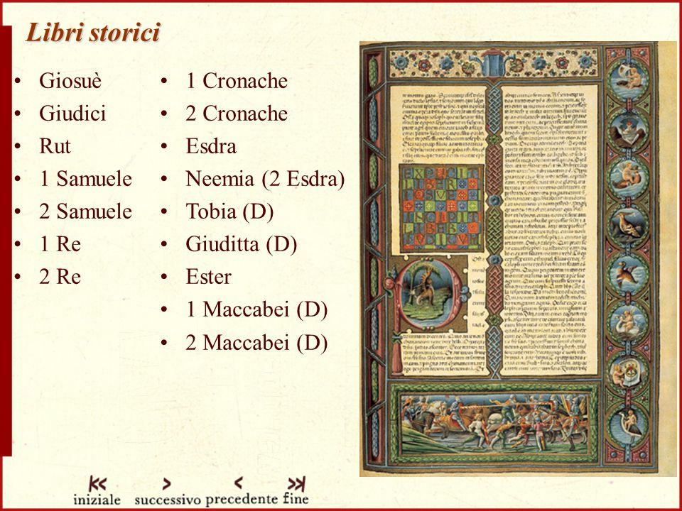 Libri storici Giosuè Giudici Rut 1 Samuele 2 Samuele 1 Re 2 Re 1 Cronache 2 Cronache Esdra Neemia (2 Esdra) Tobia (D) Giuditta (D) Ester 1 Maccabei (D) 2 Maccabei (D)