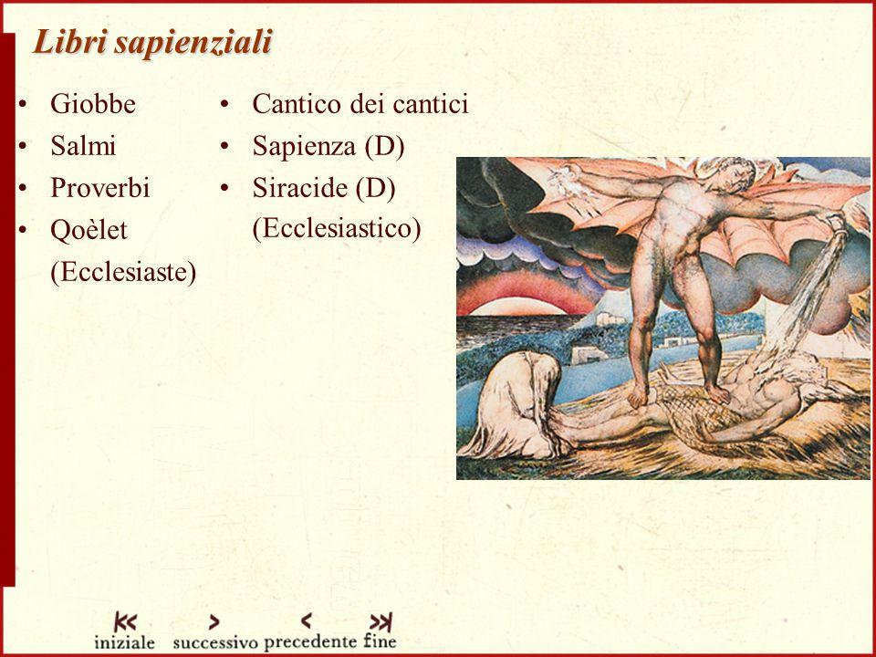 Libri sapienziali Giobbe Salmi Proverbi Qoèlet (Ecclesiaste) Cantico dei cantici Sapienza (D) Siracide (D) (Ecclesiastico)