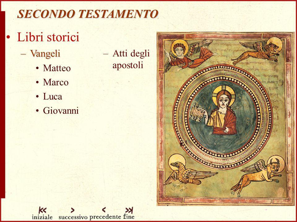 SECONDO TESTAMENTO Libri storici –Vangeli Matteo Marco Luca Giovanni –Atti degli apostoli