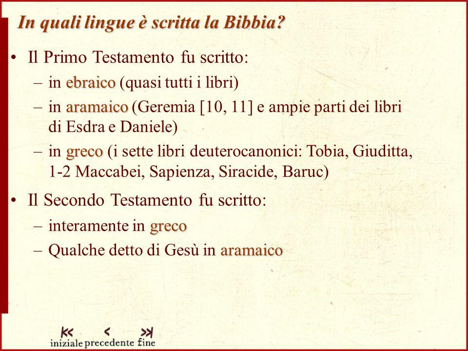 In quali lingue è scritta la Bibbia.